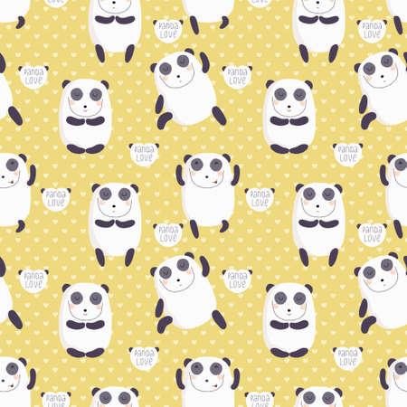 Cartoon pattern with cute panda guru Stock Vector - 26545509