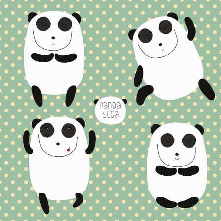Cheerful set with cartoon panda Stock Vector - 26545510