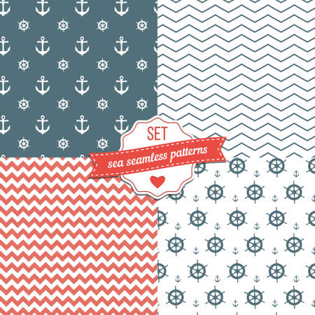 Nautical Navy Blue, Red and White Chevron, Anchors and ship wheels Seamless Patterns  Vector