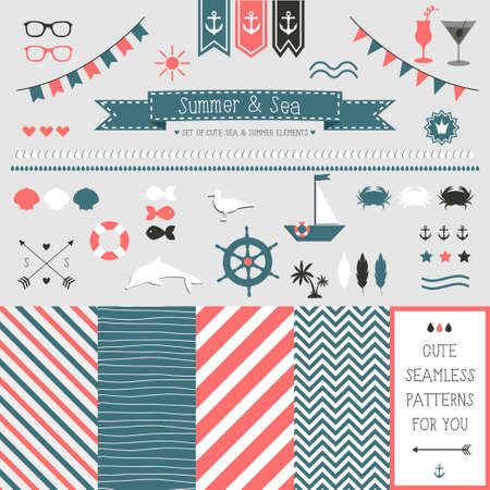 ship anchor: Set of elements for design  Sea and summer  The kit includes ribbons, bows, anchor, hearts, arrows and striped vector patterns Illustration