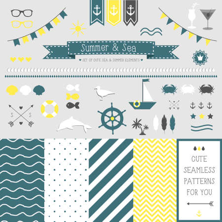 Set of elements for design  Sea and summer  The kit includes ribbons, bows, anchor, hearts, arrows and striped vector patterns Vector