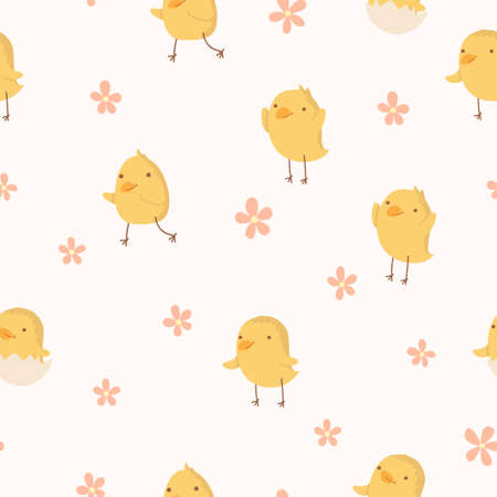 Easter concept seamless pattern  Cute small chickens in flowers  Endless texture can be used for printing onto fabric and paper or scrap booking  Vector