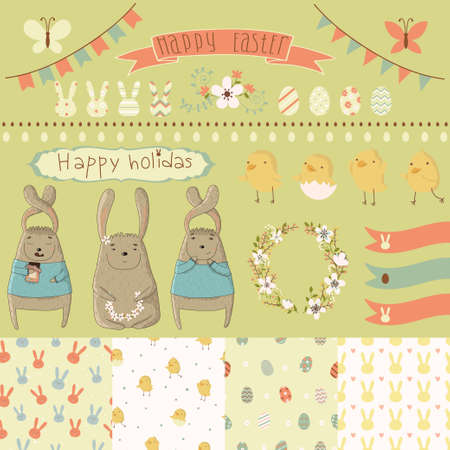 Easter scrapbook set - labels, ribbons, seamless patterns and other elements  Vector illustration  Vector