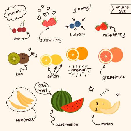 grapefruits: Fresh juicy fruits set