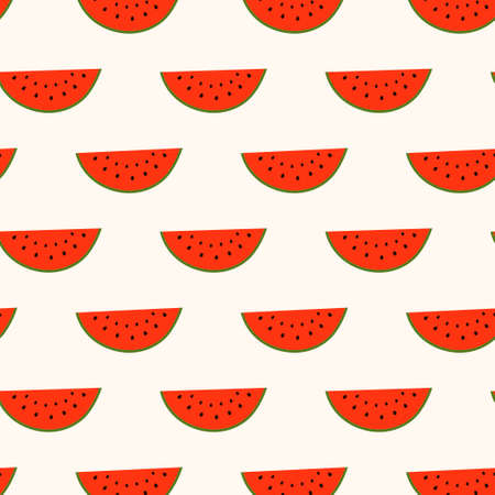 Seamless pattern with watermelon slice segments  Vector illustration  Vector