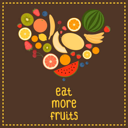 Heart From Fruit, Isolated, Vector Illustration  Eat more fruits card  Inspiration message  Healthy lifestyle poster  Vector