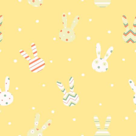 토끼 끝없는 텍스처와 간단한 귀여운 부활절 패턴 패브릭과 종이 또는 스크랩 예약에 인쇄 할 수 있습니다 일러스트