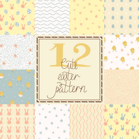 12 cute easter vector patterns  tiling   Seamless pattern with chickens, rabbits, flowers, easter eggs for your design Vector