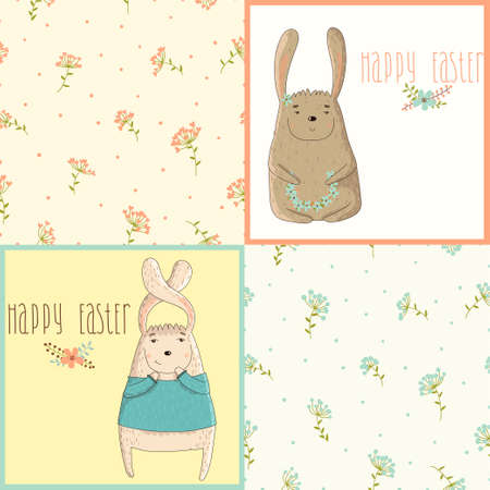 Set a happy Easter greeting card with cute bunny  Seamless floral pattern for design cards Vector