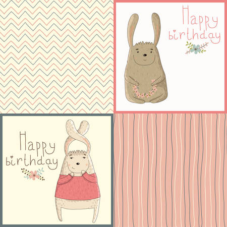 Set of happy birthday card with cute bunny  Seamless pattern to design postcards Vector