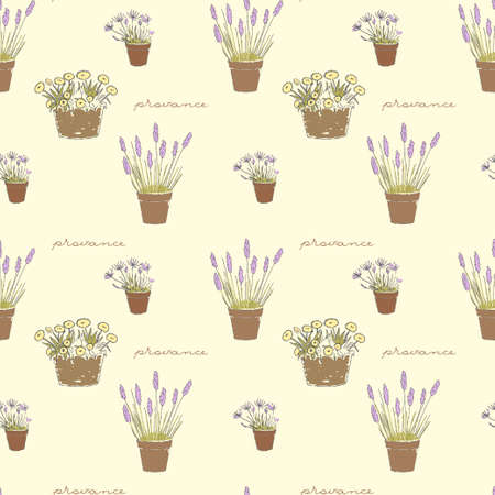 Garden seamless pattern with hand drawn potted flowers  Provance style