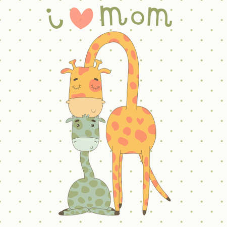 Greeting Card for Mother s Day  Illustration with cute cartoon giraffes Vector