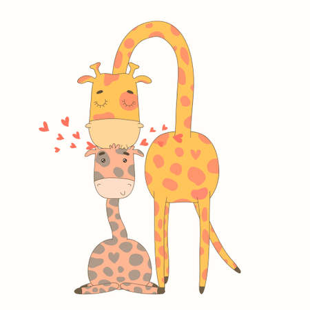 Greeting Card for Mother s Day  Illustration with cute cartoon giraffes  Иллюстрация