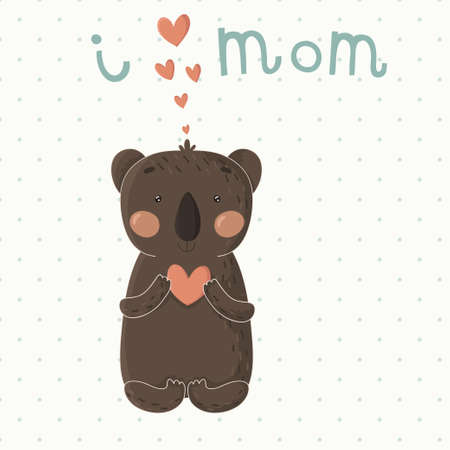 single parent: Cute card with little cartoon koala  Beautiful vector illustration Illustration
