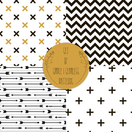 seamless tile: Set of patterns  Set of simple seamless 4 black and white Scandinavian trend seamless pattern - black cross, chevrons, stripes, arrow