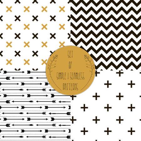 Set van patronen Reeks eenvoudige naadloze 4 zwart-wit Scandinavische trend naadloze patroon - zwart kruis, chevrons, strepen, pijl Stock Illustratie