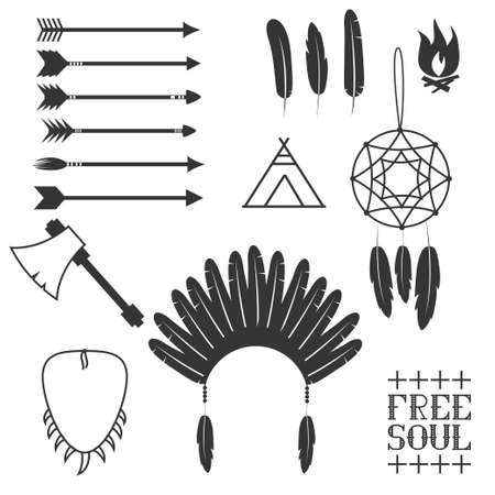 dreamcatcher: Arrows, Indian elements, Aztec borders and embellishments