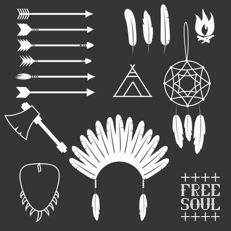 native american tomahawk: Arrows, Indian elements, Aztec borders and embellishments