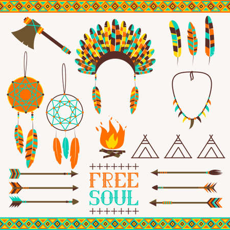 Set ethnic icon in native style  Arrows, Indian elements, Aztec borders and embellishments Illustration
