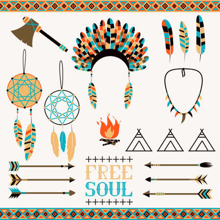 icono flecha: Fije el icono �tnica en flechas de estilo nativo, elementos indios, bordes y adornos aztecas Vectores