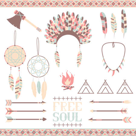 native american tomahawk: Set ethnic icon in native style  Arrows, Indian elements, Aztec borders and embellishments Illustration