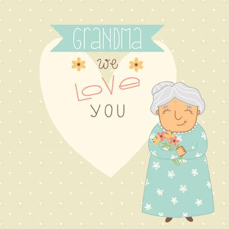 Card for Grandma  Grandma we love you Vector