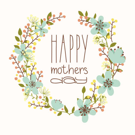 Happy mothers day card  Bright spring concept illustration with flowers