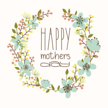 Tarjeta del día de madres feliz primavera brillante ilustración del concepto con flores