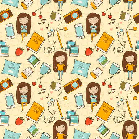 music book: Everyday things of life  Seamless pattern with cute little girl and her favorite things Illustration