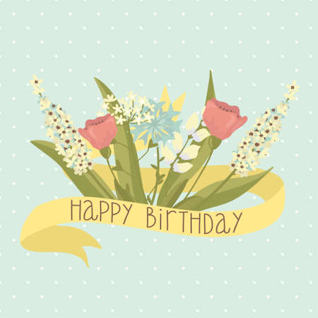 Beautiful happy birthday greeting card with flowers   Vector