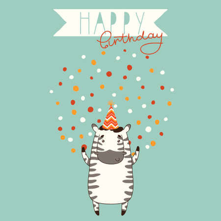 Happy Birthday Card Background With Cute Zebra Cartoon Happy