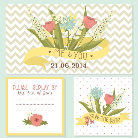 Beautiful floral wedding invitation set Vector