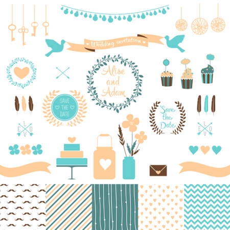 Set for wedding design   Love elements for your design Vector