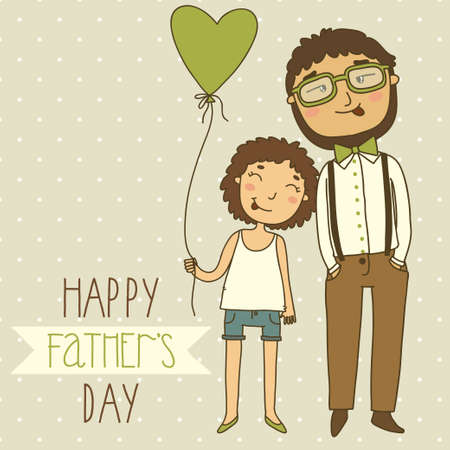 Beautiful illustration of a father and daughter  Card for father s day Illustration