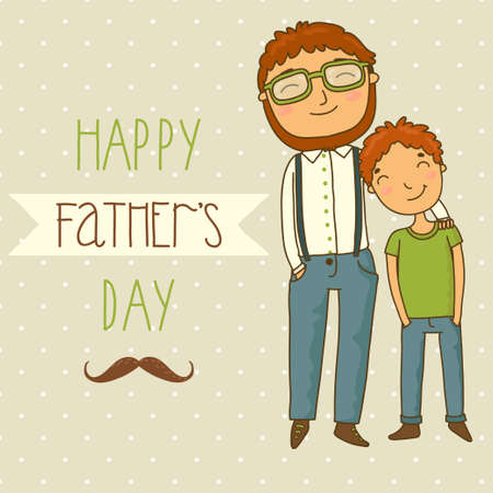 Beautiful illustration of a father and son  Card for father s day Vector
