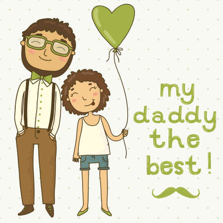 Beautiful illustration of a father and daughter  Card for father s day Vector