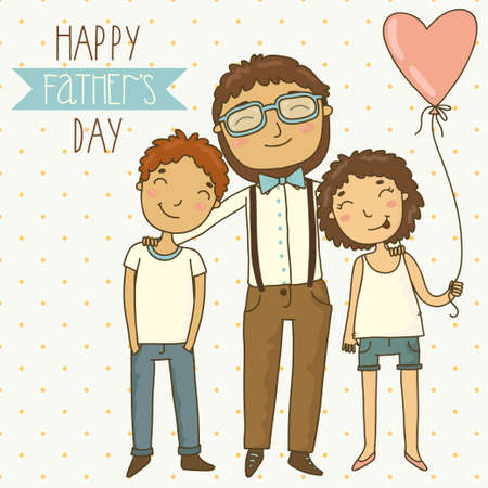father s day: Bright card for father s day  Illustration with dad, son and daughter