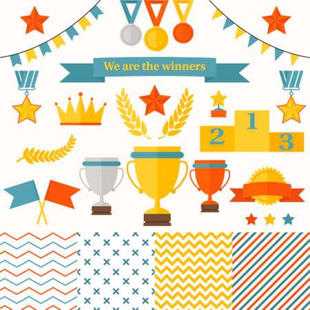 ganador: Trofeos y ganadores icons set El juego incluye taza, medallas, pedestal estrella honoraria, la corona, las banderas, los patrones sin fisuras Vectores