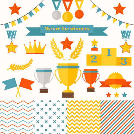 Trophy and winners icons set  Set includes cup, medals, honorary star pedestal, crown, flags, seamless patterns  Vector