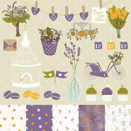 Bright set for wedding design  Save the date  The set includes macaroon, flags, flowers, hearts, birdcage, seamless floral patterns