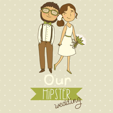 bride groom: Wedding invitation with a couple of hipsters  Our hipster wedding Illustration