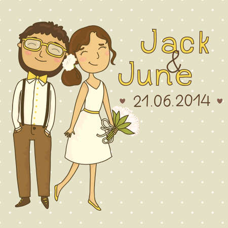 Wedding invitation with a couple of hipsters  Our hipster wedding Иллюстрация