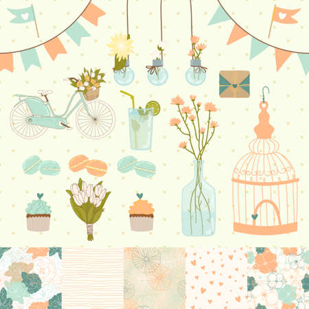 macaroon: Set for wedding design  Save the date  The set includes macaroon, flags, flowers, hearts, birdcage, seamless floral patterns
