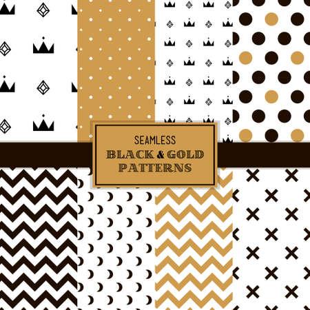 Zwart, wit en goud eenvoudige trendy patronen Stock Illustratie