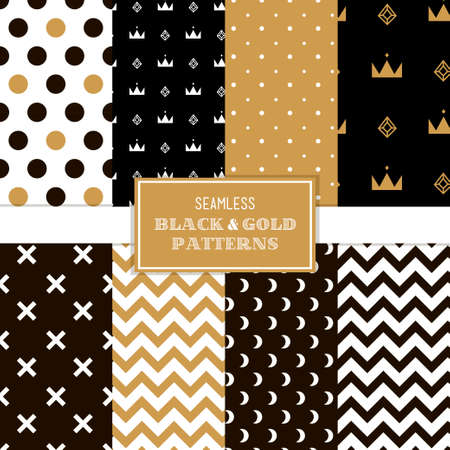 Black, white and gold simple trendy patterns  Vector