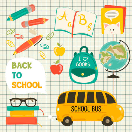 colection: Cute school cartoon colection. Back to school illustration. Pencil, pen, apple, books, bag, globe, school bus. All for beginning of the school. Vector set