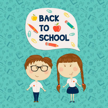 boy with glasses: Back to school. Young boy in glasses and little girl holding say back to school. Vector illustration. Seamless pattern on background