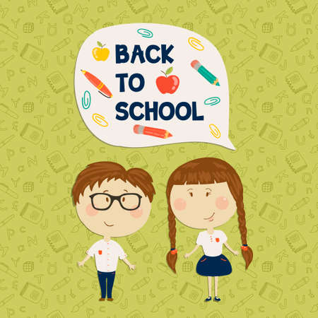 school girl uniform: Back to school. Young boy in glasses and little girl holding say back to school. Vector illustration. Seamless pattern on background