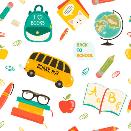 Cute school cartoon seamless pattern. Back to school illustration. Pencil, pen, apple, books, bag, globe, school bus. All for beginning of the school. Vector pattern Vector