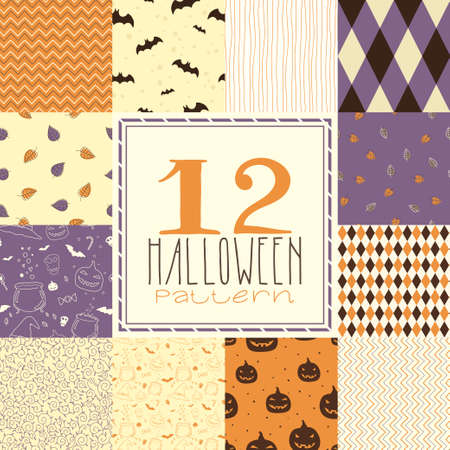 Seamless pattern with pumpkins, skulls, zigzags, bats and other symbols Vector